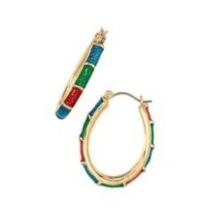 NIB Holiday Party Hoop Earrings in multi-color